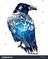 Gothic Sketch Tattoo Beautiful Idea Crow Stock Vector Royalty Free
