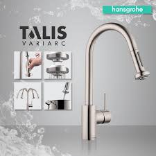 hansgrohe 06801861 steel optik talis s variarc pull down spray kitchen faucet with swivel spout and non locking spray faucet com