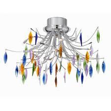 searchlight faina chrome coloured glass semi flush ceiling light