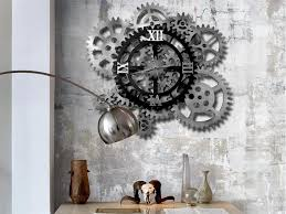 32 wall clock 12 rotating gears white