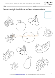 Worksheet 25 - Count and color only the fruits that have berries