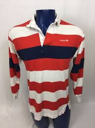 vtg 80s 90s adidas rugby jersey polo shirt long sleeve striped red white blue