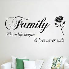 family where life begins love never ends es wall stickers home