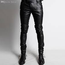 2019 whole new leather skinny jeans for men fashion pleated men faux leather motorcycle pants black leather joggers brand designer q1674 from baicao