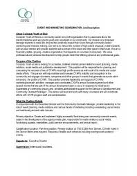 Social Media Marketing Job Description Cool EVENT AND MARKETING COORDINATOR Colorado Youth At Risk