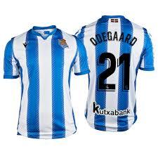 Real Sociedad Martin Ødegaard White Blue Men's 19-20 Home #21 Official  Jersey