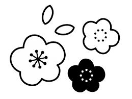 梅の花の白黒イラスト04 かわいい無料の白黒イラスト モノぽっと