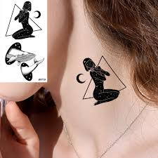 водостойкие наклейки для татуировки геометрическая луна девушка для временного