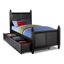 Seaside Black Kids Furniture Full Bed with Trundle Value City