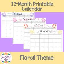 August Theme Calendar Freebie August 2019 July 2020 Floral Calendar