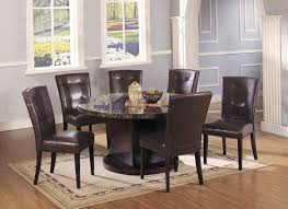 Marble Top Kitchen Table Set Acme Danville 7 Pc Round Marble Top Dining Table Set In Black By