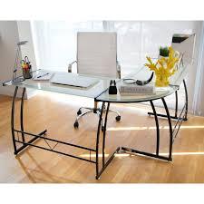 glass office furniture. this workstation is constructed of safety tempered glass with a sturdy metal frame the computer desk sure to enhance any office decor and provides furniture