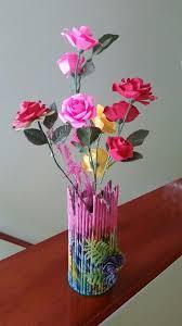 News Paper Flower Vase Vase From News Papers Empty Med Bottles Flowers From
