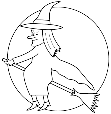 Small Picture Witch on broom with the moon Coloring Page Halloween