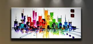 Wieco Art  CitySpace Large Color City 100% Hand-painted Modern Canvas Wall  ...