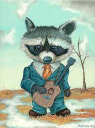 Raccoons In Vending Machine Inspiration Original Animal Art Raccoon With Guitar Mr Hooper Painting