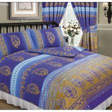 kashmir blue gold double bed duvet quilt cover bedding set paisley ethnic