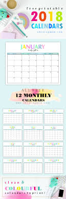free printable 12 month calendar free printable 2018 calendar pretty and colorful free printable