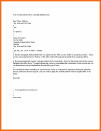 Sample Letter Of Declining A Job Offer 5 Declining A Job Offer Sample Letters Iwsp5
