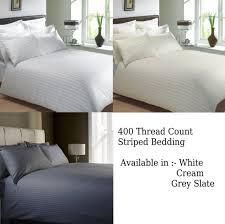 400 thread count classic stripe pure 100 egyptian cotton bedding white or cream