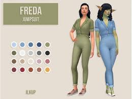 ilkup: Freda Jumpsuit - The Sims 4 Download - SimsDomination