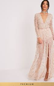 Gold Premium Sequin Long Sleeve Maxi Dressget Your Shine On With