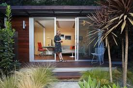 outside office shed. Chelsea Hadley Relaxes Outside Her Luxury Storage-shed Conversion In Beverly Hills, Calif. She Uses It For A Retreat And An Office. Office Shed