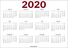 One Sheet Calendar 2020 Calendars Printable Twitter Headers Facebook Covers