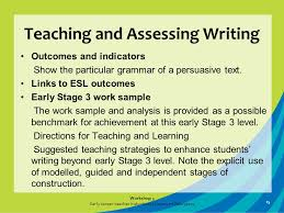 workshop early career teacher induction literacy middle years  teaching and assessing writing outcomes and indicators show the particular grammar of a persuasive text