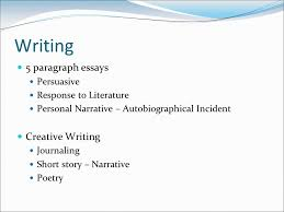 writing paragraph essays persuasive response to literature  2 writing 5 paragraph essays persuasive response to literature personal narrative autobiographical incident creative writing journaling short story