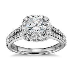 split shank halo diamond engagement ring in 14k white gold blue nile