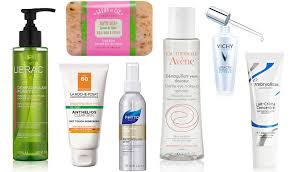 left to right lierac purifying cleanser 24 la roche posay anthelios dry