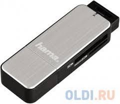 <b>Картридер</b> внешний Hama H-123900 USB3.0 серебристый ...