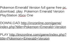 Pokemon Emerald Gratis Online Archidev