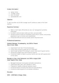Sample Resume Objectives Hospitality Management Save Restaurant
