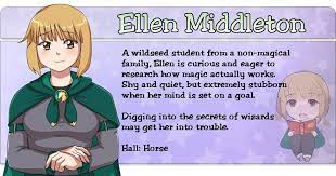 Ellen Middleton, one of five romance options in Magical Diary: Wolf Hall!  Check out the Kickstarter page for mor…   Wizard school, Visual novel,  Creating characters