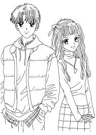 Cute Anime Coloring Pages Couple Anime Coloring Pages A Cute Anime