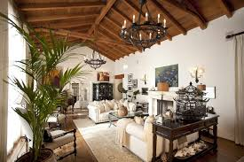 high vaulted ceiling living room mediterranean with glass doors metal double curtain rods