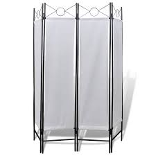 Folding Screen 4 Panel Room Divider Privacy Folding Screen White 5 3 X 5 11