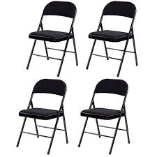 metal folding chairs with padded seats. Exellent Metal Costway Set Of 4 Folding Chairs Fabric Upholstered Padded Seat Metal Frame  Home Office 0 Intended With Seats G
