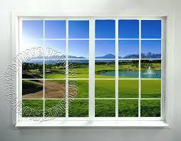 faux window wall art golf course window l stick wall mural faux window wall mural