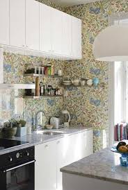 Kitchen: Breathtaking Full Kitchen Wallpaper Using Abstract Tree Ideas And  Wall Mounted White Cabinets With
