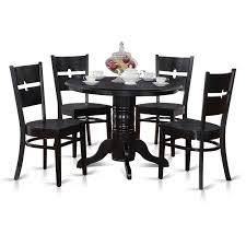 East West Furniture Shelton 5 Piece Small Kitchen Table Set Round
