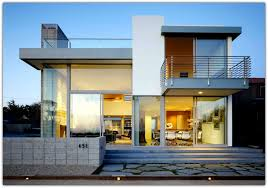 decoration exterior glass wall and railing balcony barade on modern house design plus low concrete