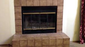 stone fireplace replace ugly tile glass doors