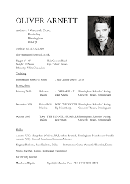 Sample Acting Resume Child Actor Template No Experience With Agent