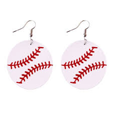 2018 new round baseball genuine leather earrings for women sport jewelry large leather softball earrings whole