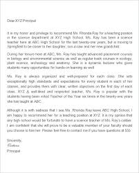 Recommendation Letter For Coworker Teacher Of From Free Template