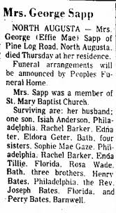 Effie Bates Sapp Obit - Newspapers.com
