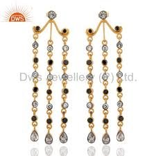 18k gold plated cubic zircon earrings black white elegant chandelier earrings